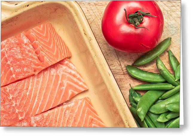 Salmon Photographs Greeting Cards - Raw salmon Greeting Card by Tom Gowanlock