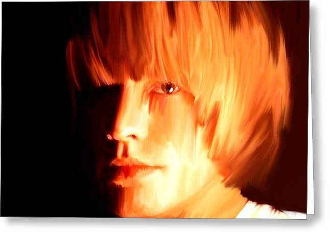 Keith Richards Paintings Greeting Cards - Raw Stone  Brian Jones Greeting Card by Iconic Images Art Gallery David Pucciarelli