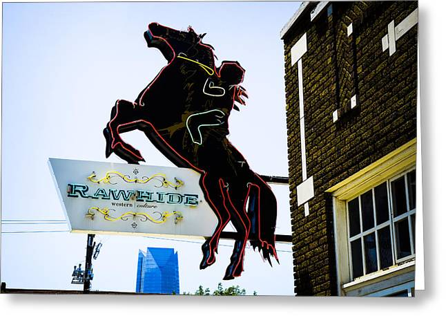 Rawhide Greeting Cards - Rawhide Neon Sign Greeting Card by David Waldo