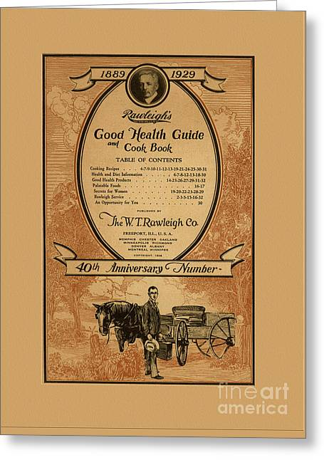 Traveling Salesman Greeting Cards - Rawleighs Good Health Guide and Cook Book 1928 Greeting Card by Anne Kitzman