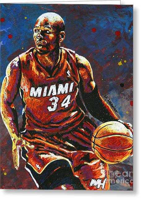 Celtics Basketball Greeting Cards - Ray Allen Greeting Card by Maria Arango