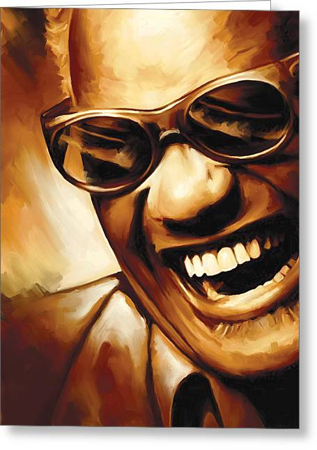 Blue Art Greeting Cards - Ray Charles Artwork 1 Greeting Card by Sheraz A