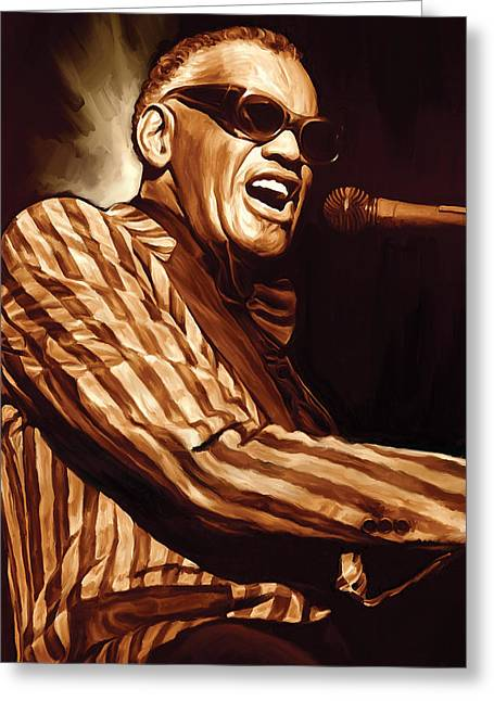 Singer Songwriter Greeting Cards - Ray Charles Artwork 2 Greeting Card by Sheraz A
