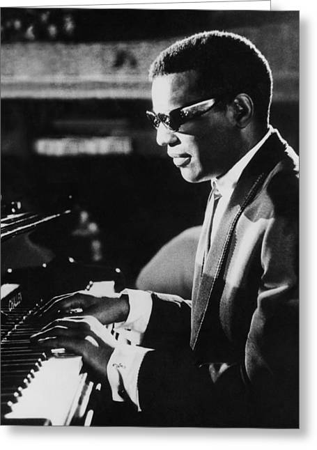 Ray Charles At The Piano Greeting Card by Underwood Archives
