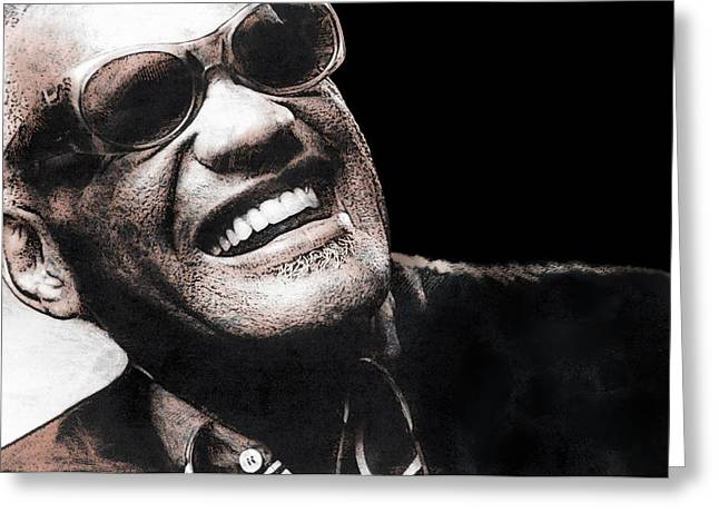 Song Writer Greeting Cards - Ray Charles Greeting Card by Daniel Hagerman