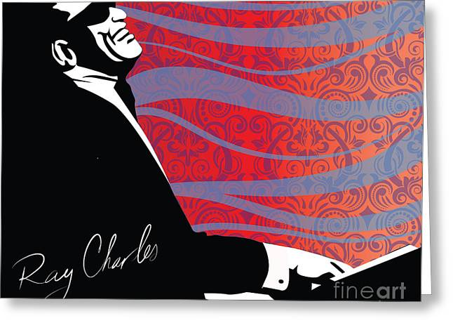 Piano Digital Art Greeting Cards - Ray Charles jazz digital illustration print poster  Greeting Card by Sassan Filsoof