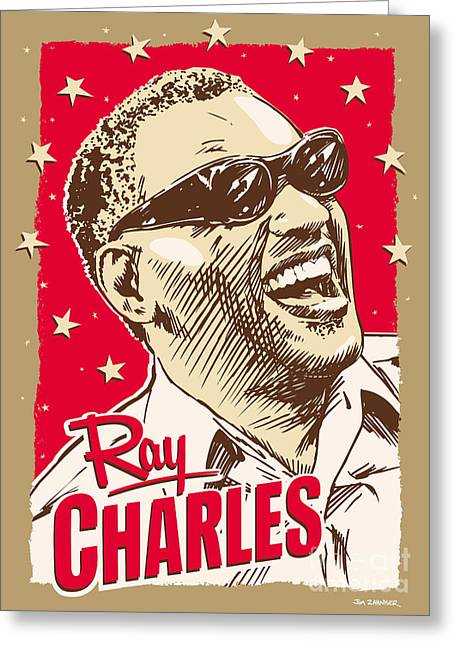 African-american Greeting Cards - Ray Charles Pop Art Greeting Card by Jim Zahniser