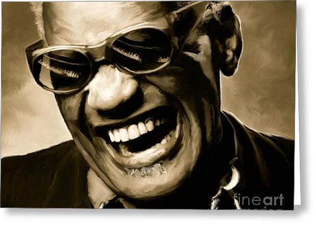 Blinds Greeting Cards - Ray Charles - Portrait Greeting Card by Paul Tagliamonte