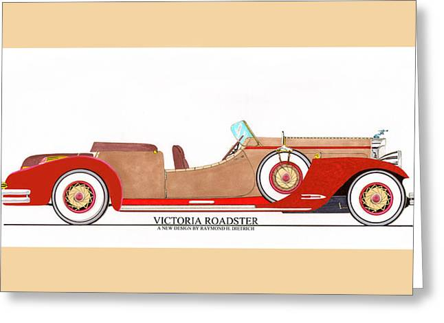Co-founder Greeting Cards - Ray Dietrich Packard Victoria Roadster concept design Greeting Card by Jack Pumphrey