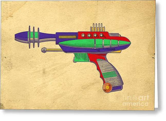 Pretending Greeting Cards - Ray Gun Patent Art Greeting Card by Edward Fielding