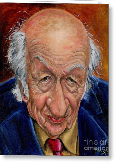 Celeb Greeting Cards - Ray Harryhausen Greeting Card by Mark Tavares