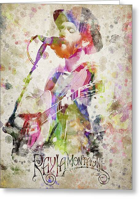 In Trouble Greeting Cards - Ray Lamontagne Portrait Greeting Card by Aged Pixel