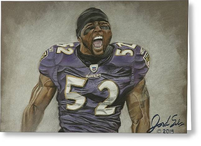 Football Pastels Greeting Cards - Ray Lewis Baltimore Ravens Greeting Card by Jordan Spector