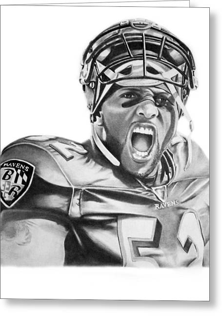 Recently Sold -  - Don Medina Greeting Cards - Ray Lewis Greeting Card by Don Medina