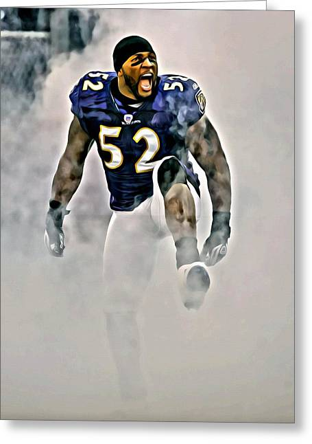 Recently Sold -  - Fame Greeting Cards - Ray Lewis Greeting Card by Florian Rodarte