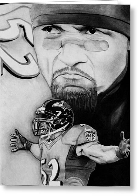 Ray Lewis Greeting Card by Jason Dunning
