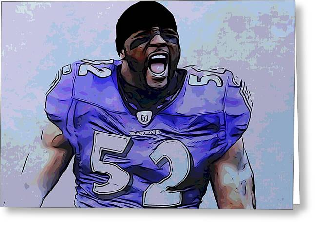 Pro Football Greeting Cards - Ray Lewis Poster Greeting Card by Dan Sproul