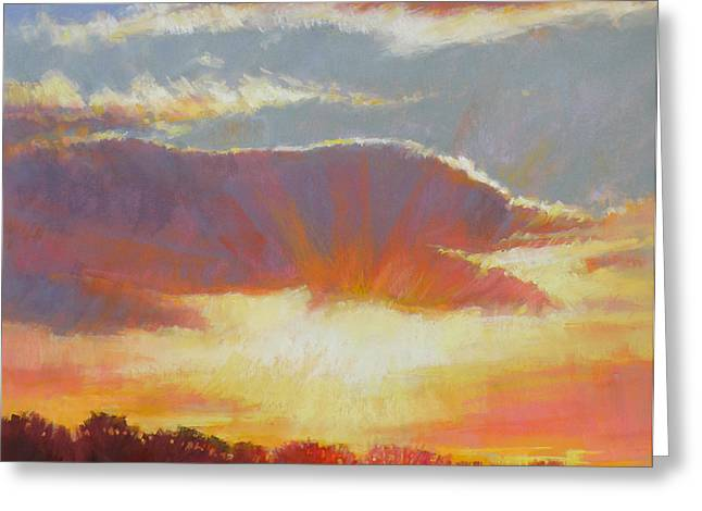 Sun Rays Pastels Greeting Cards - Ray of Light Greeting Card by Ed Chesnovitch