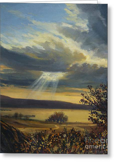 Backlit Paintings Greeting Cards - Ray of Light Greeting Card by Kiril Stanchev