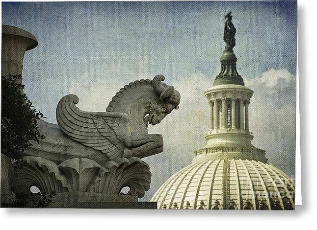 U.s. Capitol Dome Greeting Cards - Rayburn Gargoyle Greeting Card by Terry Rowe