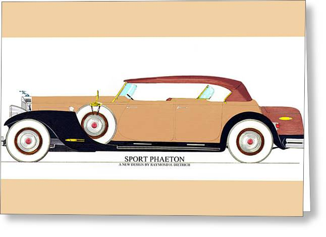 Substantial Greeting Cards - Raymond H Dietrich Packard Sport Phaeton Concept Greeting Card by Jack Pumphrey