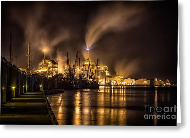 Beach At Night Greeting Cards - Rayonier Pulp Mill Fernandina Beach Florida Greeting Card by Dawna  Moore Photography
