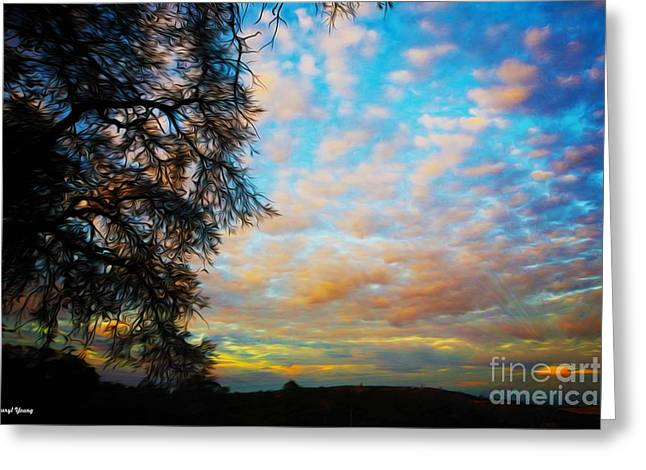 Whit Greeting Cards - Rays and Clouds Greeting Card by Cheryl Young