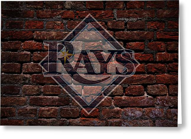 Cabin Wall Greeting Cards - Rays Baseball Graffiti on Brick  Greeting Card by Movie Poster Prints
