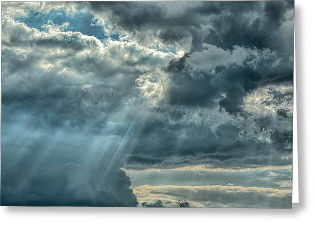 Sun Breaking Through Clouds Photographs Greeting Cards - Rays From Heaven Greeting Card by Jai Johnson