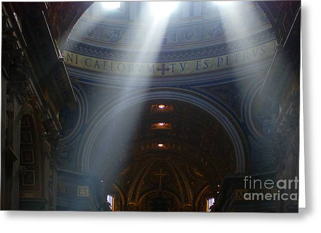 Basillica Greeting Cards - Rays Of Hope St. Peters Basillica Italy  Greeting Card by Bob Christopher