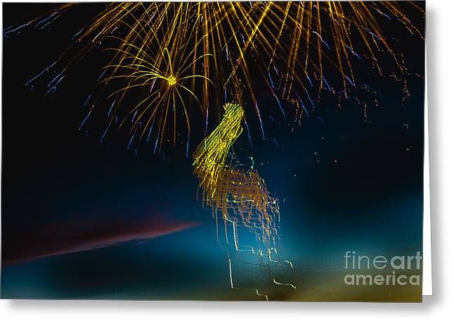 Purple Fireworks Greeting Cards - Rays Of Light From Above Greeting Card by Robert Bales