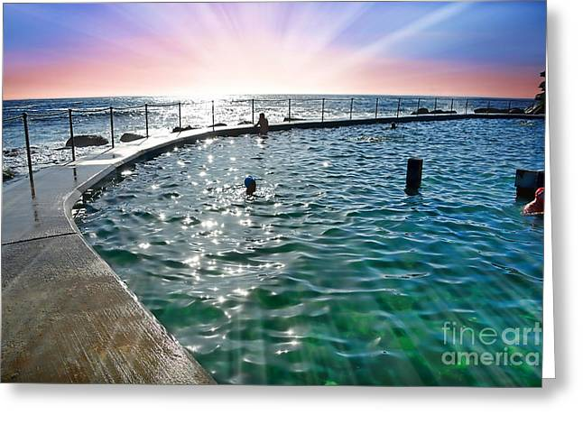 Swimmers Greeting Cards - Rays of Sunshine over Beach Pool by Kaye Menner Greeting Card by Kaye Menner