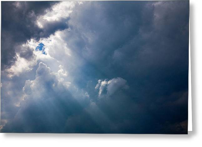 Natalie Kinnear Greeting Cards - Rays of Sunshine Through Dark Clouds Greeting Card by Natalie Kinnear
