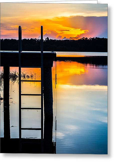 Cabin On A Lake Greeting Cards - Rays of  Sun By The Dock Greeting Card by Parker Cunningham