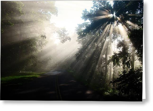 Old Country Roads Mixed Media Greeting Cards - Rays on the road  Greeting Card by Davids Digits