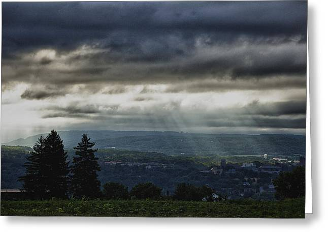 Ithaca Greeting Cards - Rays over Cornell Greeting Card by Monroe Payne