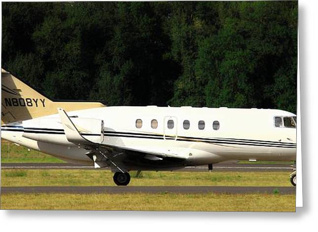 Commercial Aviation Greeting Cards - Raytheon Hawker 800XP Greeting Card by Aaron Berg