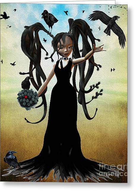 Raven Haired Greeting Cards - Rayvens Wedding Day Greeting Card by Cheryl Young