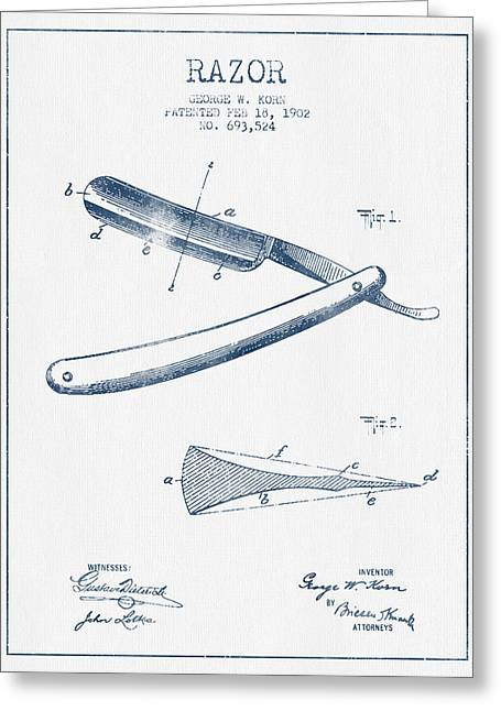 Barber Greeting Cards - Razor Patent from 1902 - Blue Ink Greeting Card by Aged Pixel