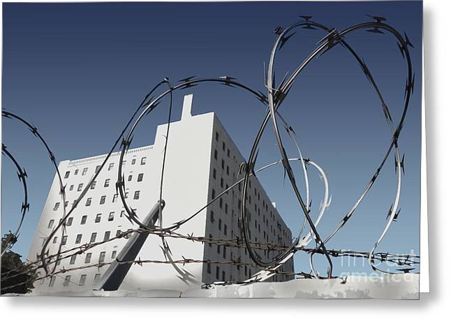 Razor Wire In Skid Row Greeting Card by Gregory Dyer