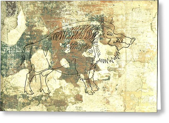 University Of Arkansas Drawings Greeting Cards - Cave Painting 2 Greeting Card by Larry Campbell