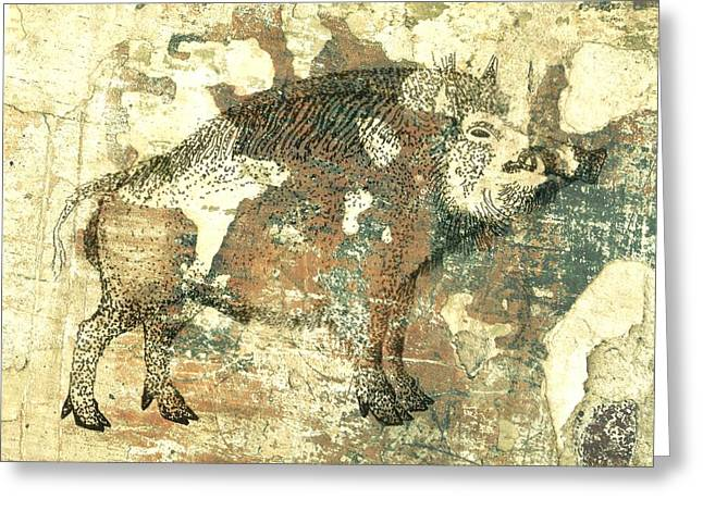 University Of Arkansas Drawings Greeting Cards - Cave Painting 4  Greeting Card by Larry Campbell