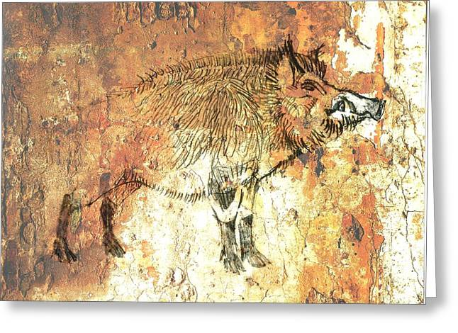 University Of Arkansas Drawings Greeting Cards - Cave Painting 5 Greeting Card by Larry Campbell