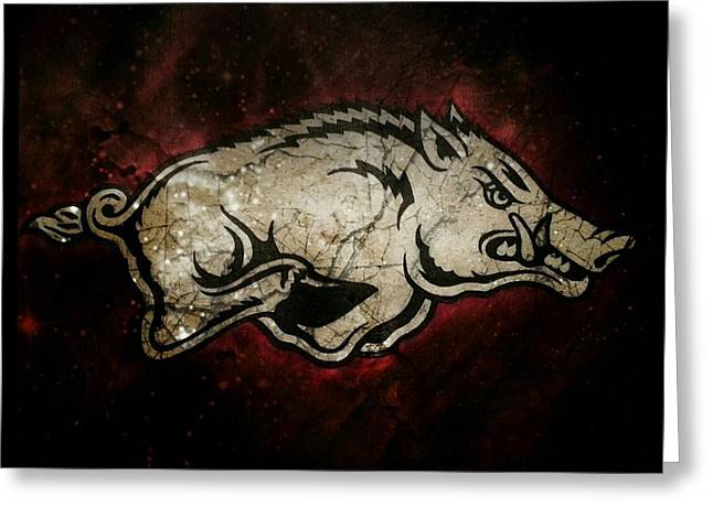 Arkansas Paintings Greeting Cards - Razorback Bliss Greeting Card by Russten Johnson