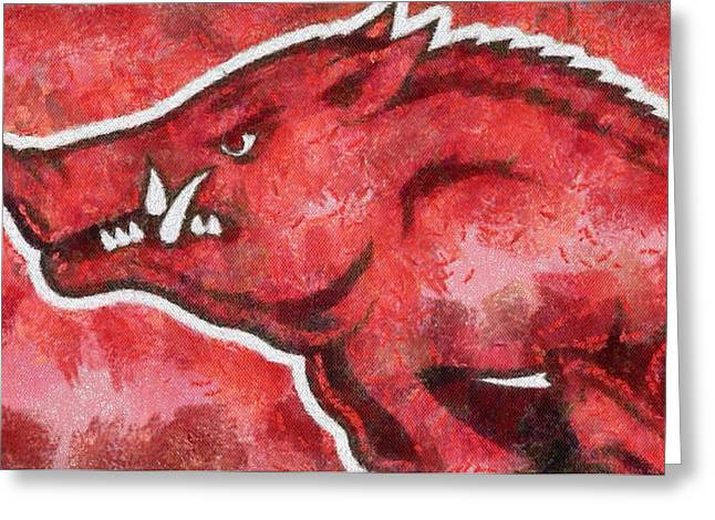 Arkansas Paintings Greeting Cards - Razorback Greeting Card by Dawn Bearden