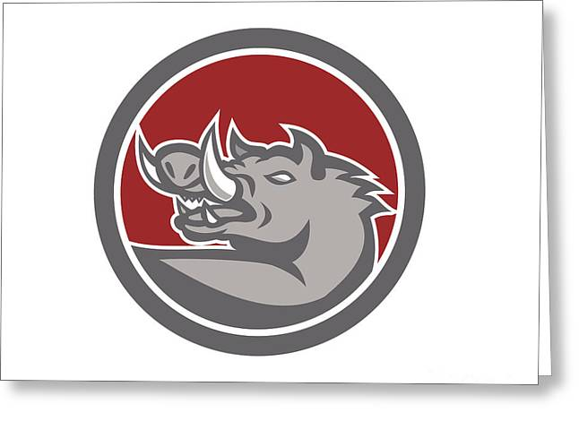 Razorback Head Looking Up Circle Greeting Card by Aloysius Patrimonio