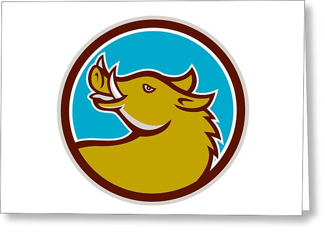 Razorback Head Looking Up Circle Retro Greeting Card by Aloysius Patrimonio