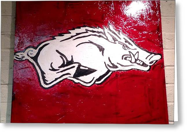 University Of Arkansas Greeting Cards - Razorback Painting Art Greeting Card by Dawn Bearden