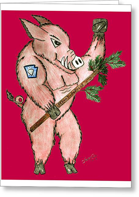 Razorbacks Drawings Greeting Cards - Razorback Greeting Card by Sherry Nelson