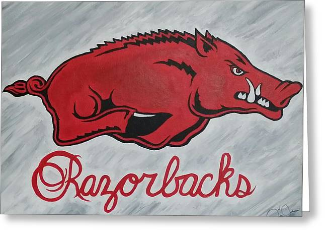 Arkansas Paintings Greeting Cards - Razorbacks Forever Greeting Card by Russten Johnson